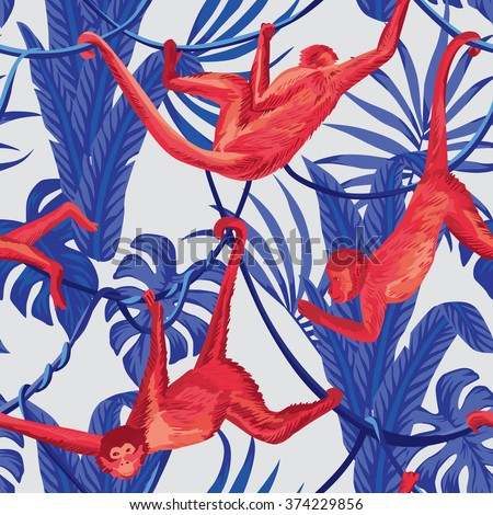 red hanging monkeys in the blue jungle seamless background - stock vector
