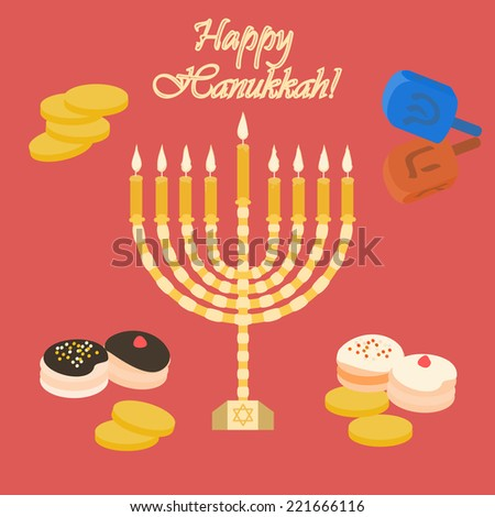 Red Happy Hanukkah card with a candle. Illustration made in vector. - stock vector