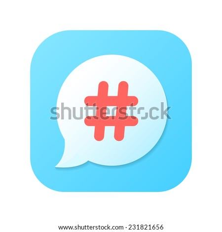 red hashtag icon on blue gradient speech bubble. concept of number sign, social media, social networks, short messages, microblogging. isolated on white background. trendy modern vector illustration - stock vector