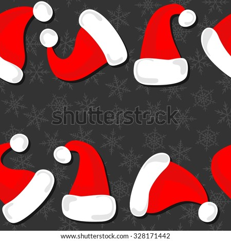 red hats of Santa Claus Christmas winter holidays seamless double horizontal border on dark background - stock vector
