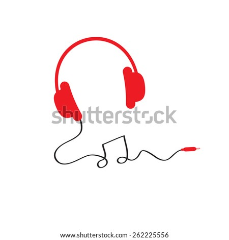 Red headphones icon with black cord in shape of note Music background Isolated Flat design  Vector illustration. - stock vector