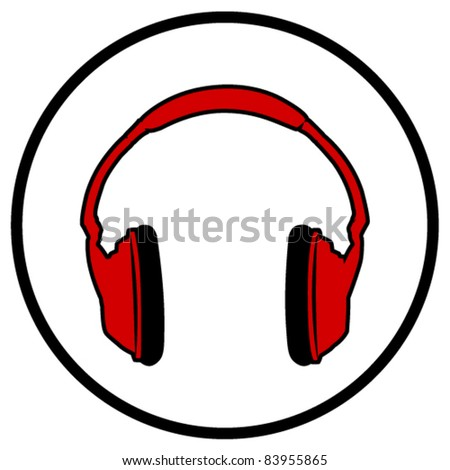 Red Headphones Symbol - Vector Illustration. (JPEG version also available). - stock vector