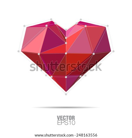 Red heart abstract isolated on a white backgrounds - stock vector