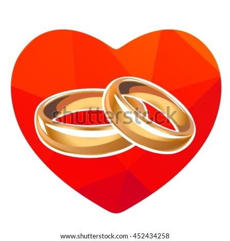 Red Heart Wedding Rings Isolated On Stock Vector 452434258