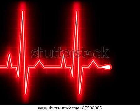 Red heart beat. Ekg graph. EPS 8 vector file included - stock vector