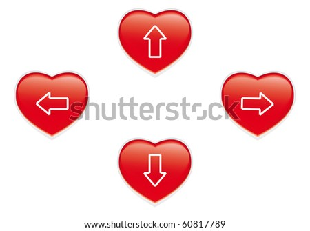 Red heart buttons isolated on white - stock vector