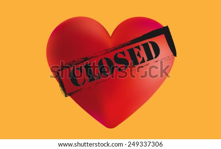 Red Heart 3D with black Closed Sign. 3D Heart in Red with CLOSED Text and orange Background  Vector illustration for book cover, brochure, flyer, magazine, CD cover design, website, app,annual report