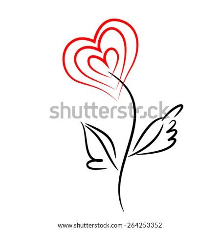 Red heart flower. - stock vector