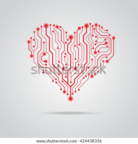 Red heart from circuit board - stock vector