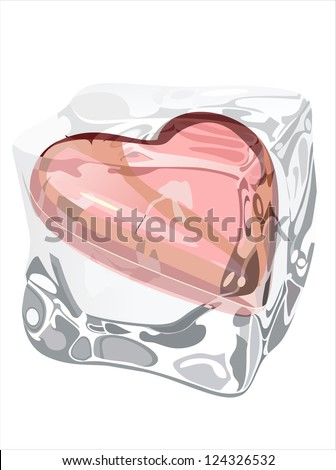 Red heart frozen in ice cube isolated on white - stock vector