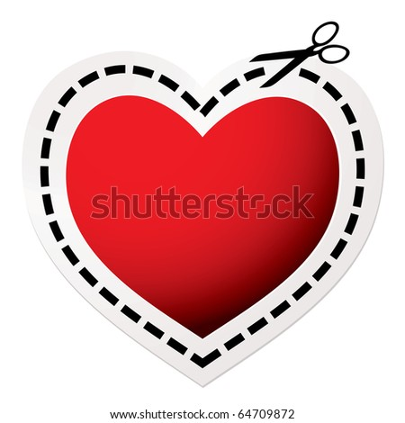 Red heart icon with scissors and love concept - stock vector