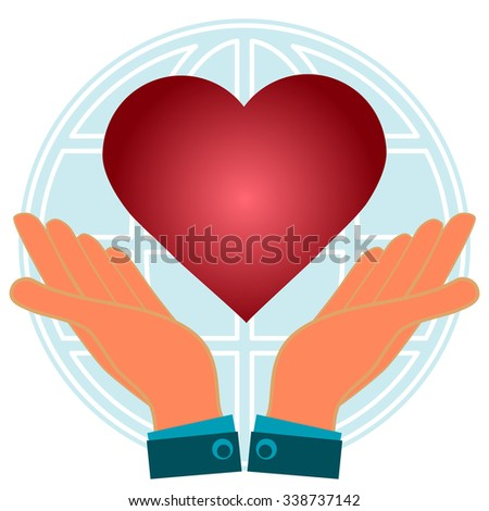 Red heart in hands on a background a globe. World love, peace. - stock vector