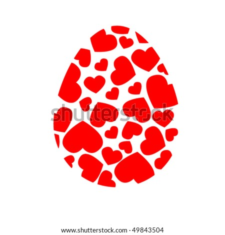 Red heart in the Easter egg - stock vector