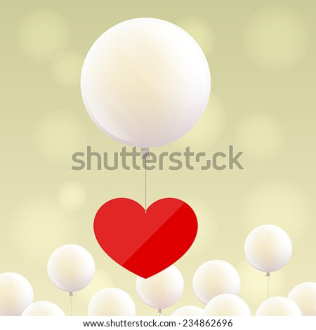 Red heart is flying at big white balloon, and small white balloons at the bottom