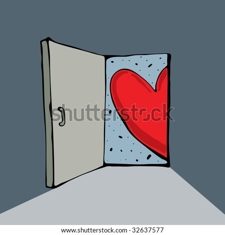 Red heart is looking out of a door - stock vector