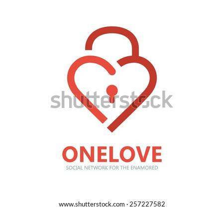 Red heart lock vector logo  - stock vector
