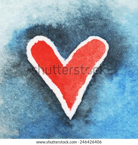 red heart on a blue background/ watercolor painting/ card valentine/ Lover's Day greetings/ vector illustration - stock vector