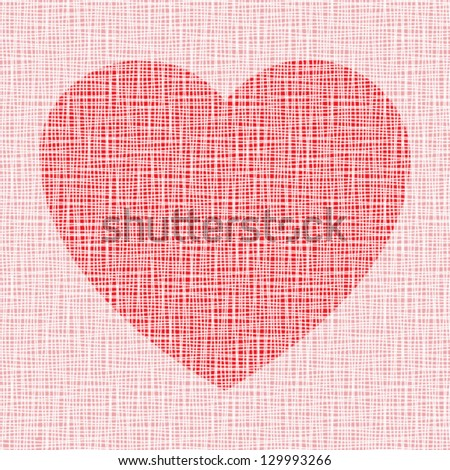 red Heart on  canvas texture, vector illustration - stock vector