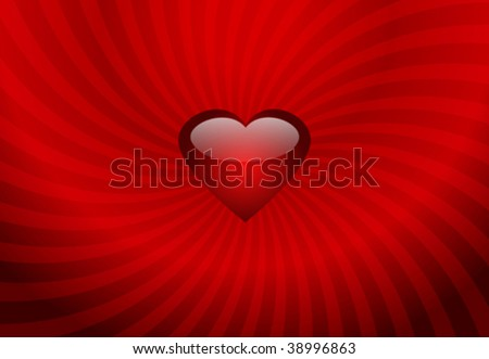 Red heart on the stripes background