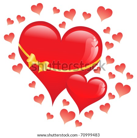 red heart  on the white background - stock vector
