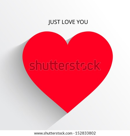 Red Heart Paper Sticker With Shadow Valentine's day vector illustration Postcard - stock vector