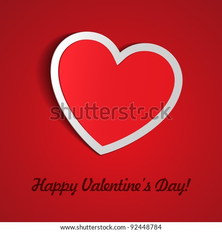 Red Heart Paper Sticker With Shadow Valentine's day vector illustration Postcard eps 10 - stock vector