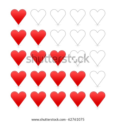 Red heart ratings web 2.0 button. Satin smooth shapes with shadow and reflection on white background - stock vector