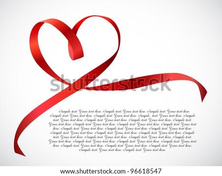 Red heart ribbon bow. Vector - stock vector
