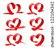 Red heart set, ribbon. Vector illustration - stock photo