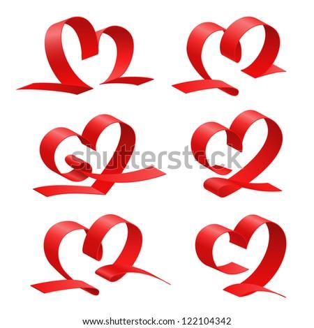 Red heart set, ribbon. Vector illustration - stock vector