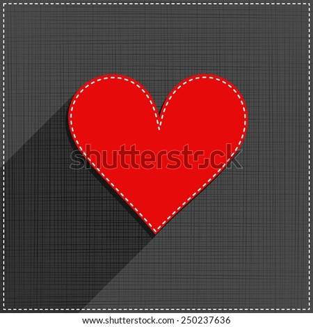 red heart sewed romantic Valentines Day card on gray background - stock vector
