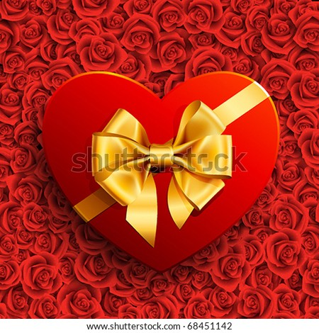 Red heart shape gift with golden bow on roses background - stock vector