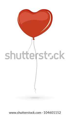 Red heart shaped balloon isolated on white background