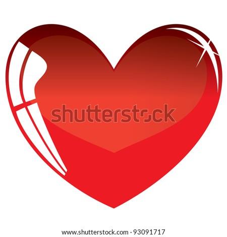 Red heart symbol. Vector illustration - stock vector
