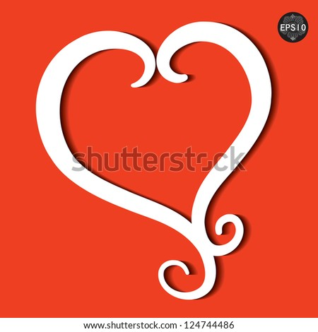 Red heart, Vector illustration