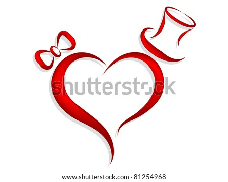 Red heart with bow a cylinder