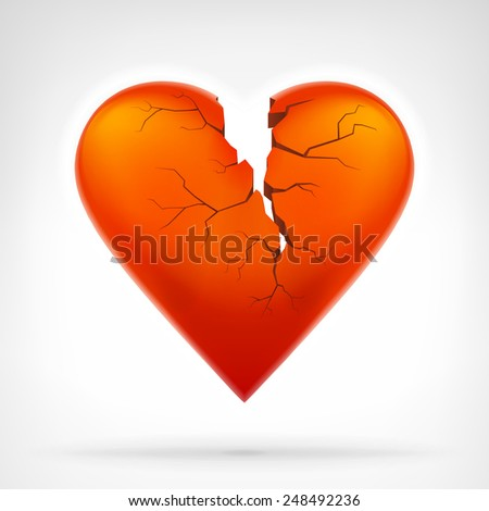 red heart with cleft heart attack from top graphic design isolated vector illustration on white background  - stock vector