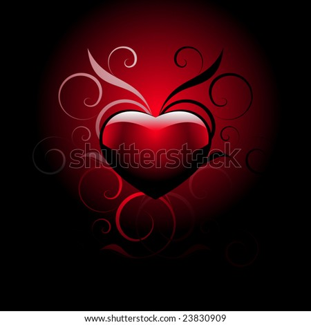 red heart with decorative elements on a gradient background - stock vector