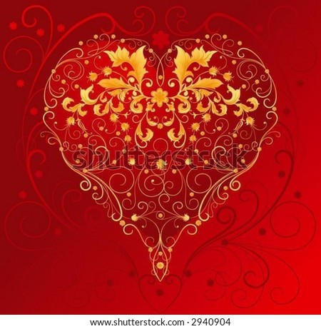 red heart with filigree ornament - stock vector