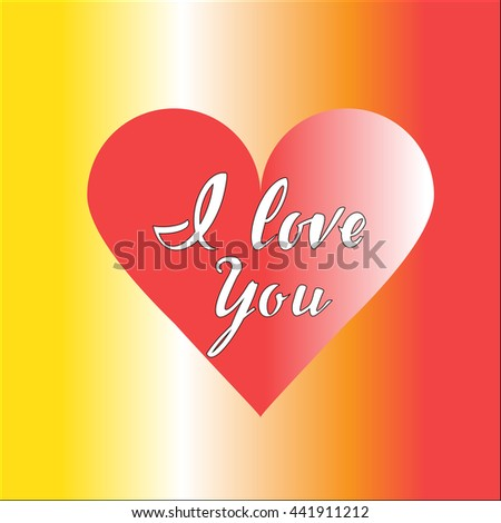 red heart with inscription I love you  on a colored background.
