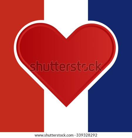 Red heart with shadows inside a national flag of france with Pray for France concept. Vector illustration design.