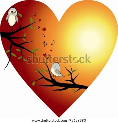 Red heart with two birds - stock vector