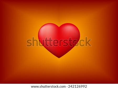 Red heart with Valentine's day background, Vector illustration - stock vector