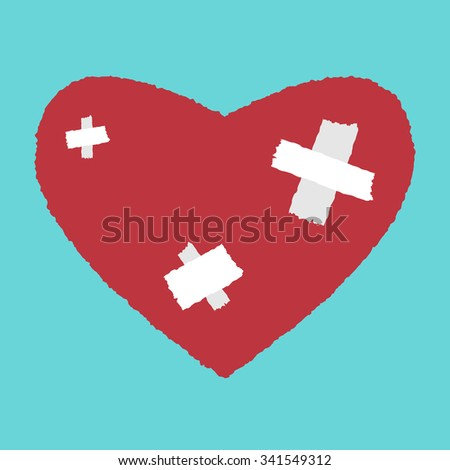 Red heart with white patches. Medicine, health care, relationship, love concept. EPS 8 vector illustration, no transparency - stock vector