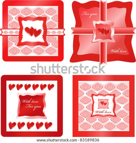 red hearts and presents on ornamental backgrounds - stock vector