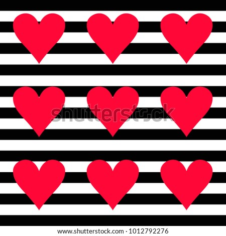 Red Hearts, Background with Stripes Black and White