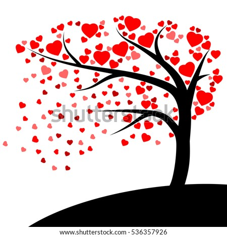 Red hearts fall from the Tree vector isolated on white background in lovely concept