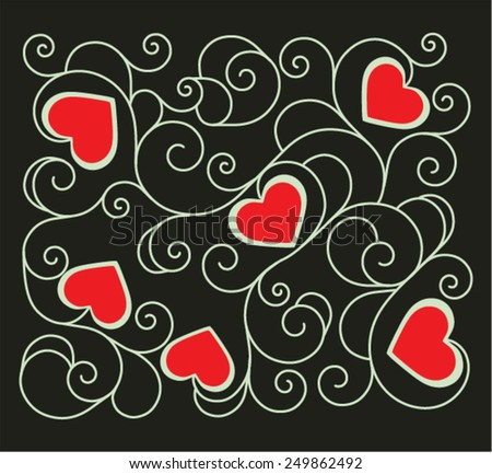 Red hearts for Valentine's Day in deco pattern from ornamental scrolls - stock vector