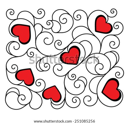 Red hearts for Valentine's Day in deco pattern from ornamental scrolls on white background - stock vector