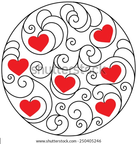 Red hearts for Valentine's Day in deco round pattern from ornamental scrolls on a white background - stock vector